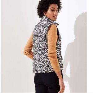 NWT Loft Leopard Puffer Zip Up Vest